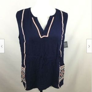 Simply Styled Sleeveless Embroidered Top Sz L Navy